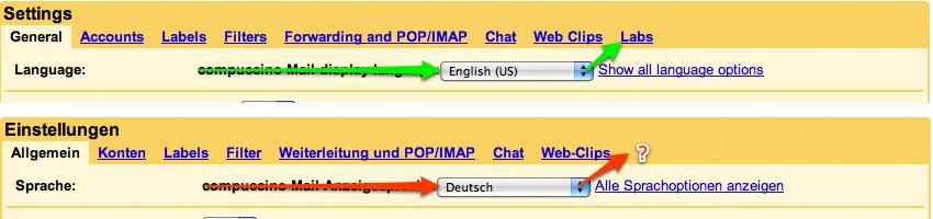 GMail-Labs Link nicht auf Deutsch