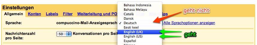 Sprache auswählen in GMail