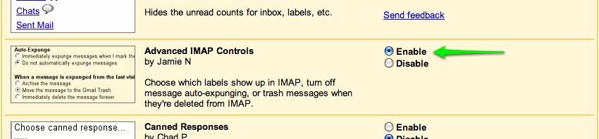 Enable Advanced IMAP Controls